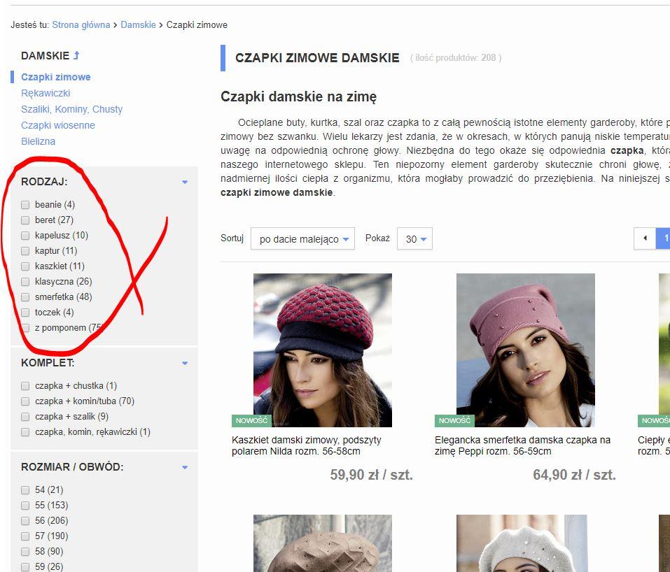 czapki, łatwe filtrowanie oferty